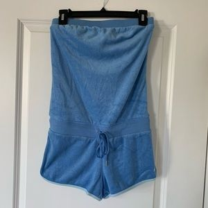 Express Blue Towel Terry Romper